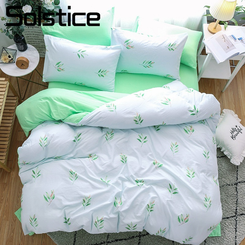 Solstice Home Textile Simple Fashion Bedding Sets Girl Kid Teen Linens White Green Duvet Cover Bed Sheet Female Adult Bedclothes