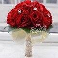 2016 Искусственные Красные Свадебные Букеты Для Невест Невесты Белый Рука Розы Цветы Кристалл Невесты букет де mariage