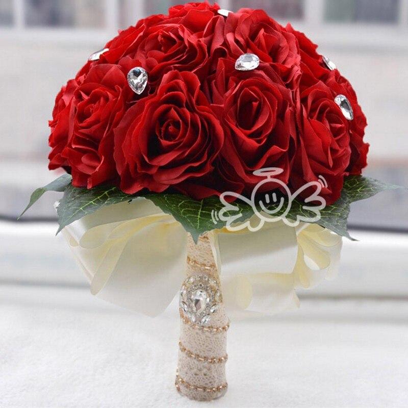 2016 artificial red wedding bouquets for brides bridesmaid for Bouquet de fleurs 2016
