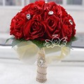 2016 Artificial Red Wedding Bouquets For Brides Bridesmaid White Hand Holding Rose Flowers Crystal Bride bouquet de mariage