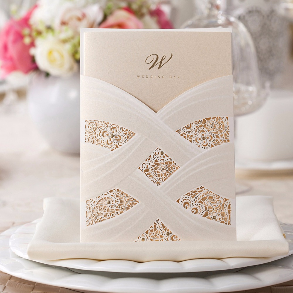 Aliexpress 100pcs Vertical Laser Cut White Hollow Fl Wedding Invitations Pearl Paper Cards For Marriage Favors Customizable Cw060 From
