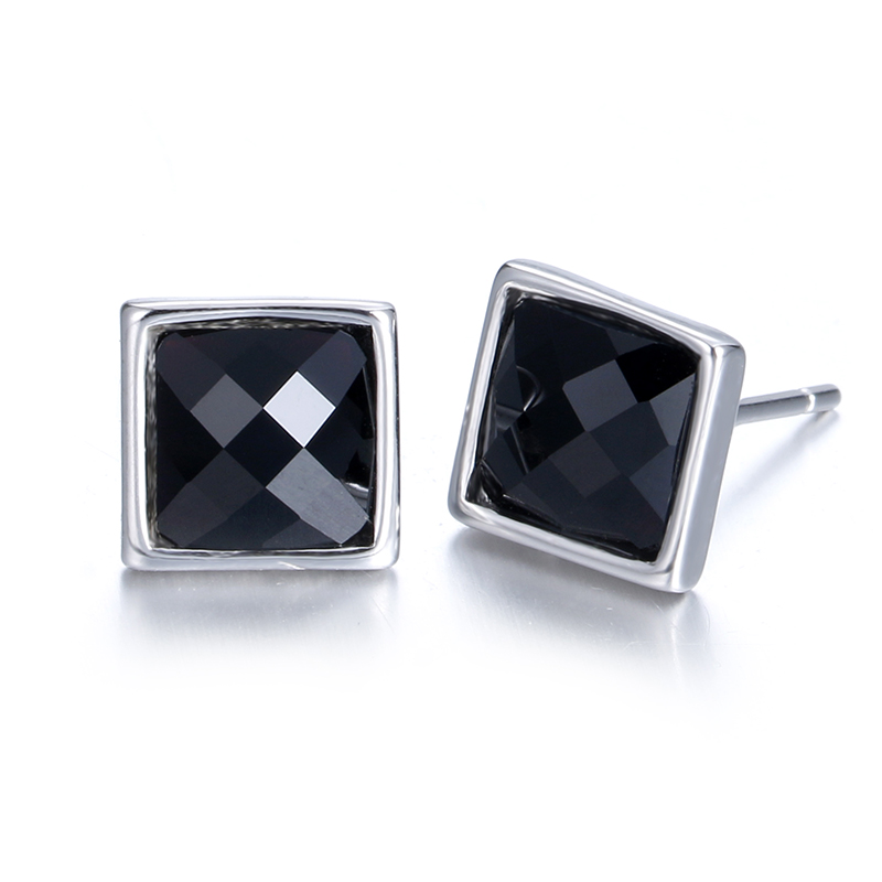 Stud-Earrings Wholesale 100%925-Sterling-Silver S-Jewelry Crystal Square Black Fashion