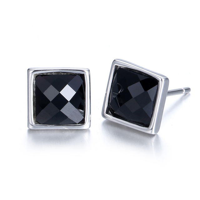 100 925 Sterling Silver Fashion Square Black Crystal Men S Jewelry Stud Earrings
