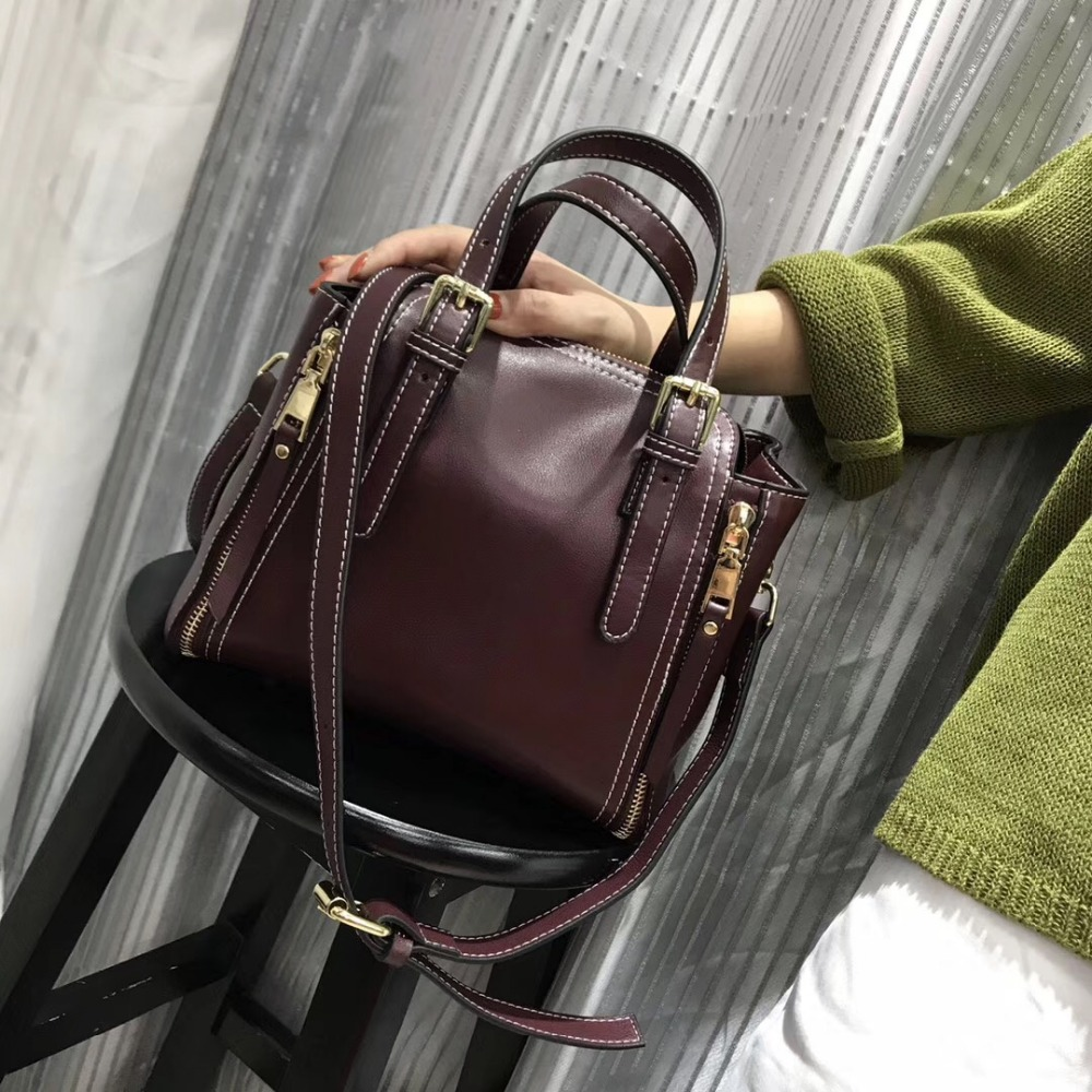 Kafunila new 2017 women genuine leather handbags famous brand small handbags ladies luxury shoulder bags vintage messenger bags