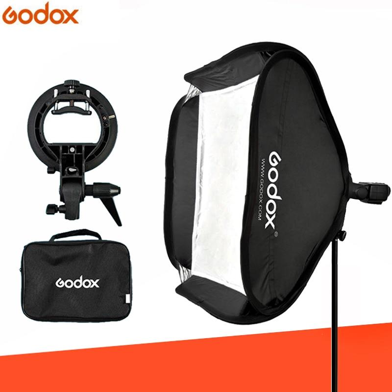 Godox Ajustable Flash Softbox 80cm 80cm S type Bracket Mount Kit for Flash Speedlite Studio Shooting