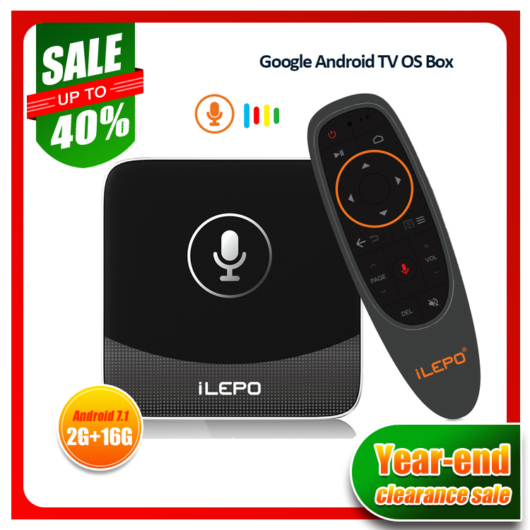 US $34 15 40% OFF|iLEPO I18A Google Voice Control Smart TV Box Android TV  7 1 OS Amlogic S905W 2G 16G Environmentally Coating 2 4GWifi 100M LAN 4K-in
