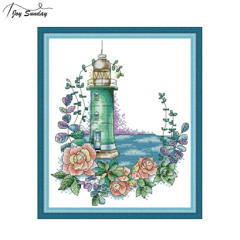 Joy Sunday Counted Cross Stitch Kit Landscape Painting Lighthouse DIY Needlework Embroidery Patterns 14ct 11ct DMC Cotton Thread
