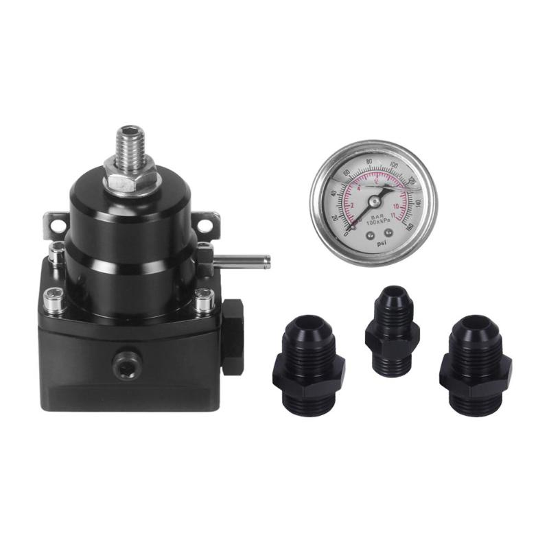 New Style Black 30-75 PSI Car Fuel Pressure Regulator with Boost Gauge AN6 AN8 Fitting Vacuum Booster Oil Pressure Regulator wlr racing an8 high pressure fuel regulator w boost 8an 8 8 6 efi fuel pressure regulator with gauge wlr7855