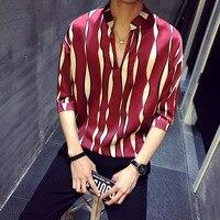 Loldeal Mens Shirts Pullover Summer Shirts Striped Shirts Social Camisas Para Hombre V neck Stand Collar Loose shirt