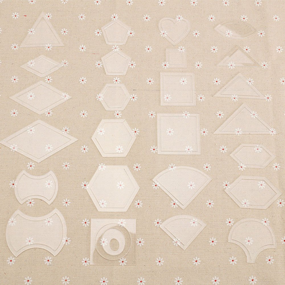 27 Set Kit Reusable Patchwork Templates Sewing Craft DIY Tool Accessories Handmade Stencils Quilting Transparent Acrylic Ruler