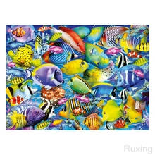 diamond painting Animated fish of various colors embroidery diy full mosaic Home crafts 5d Square diamonds