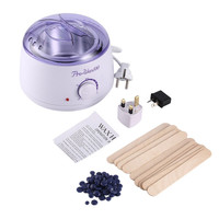 Electric Hot Wax Heater with 400g Hard Wax Beans & 10pcs Wax Applicator Sticks Beauty Hands Hair Removal