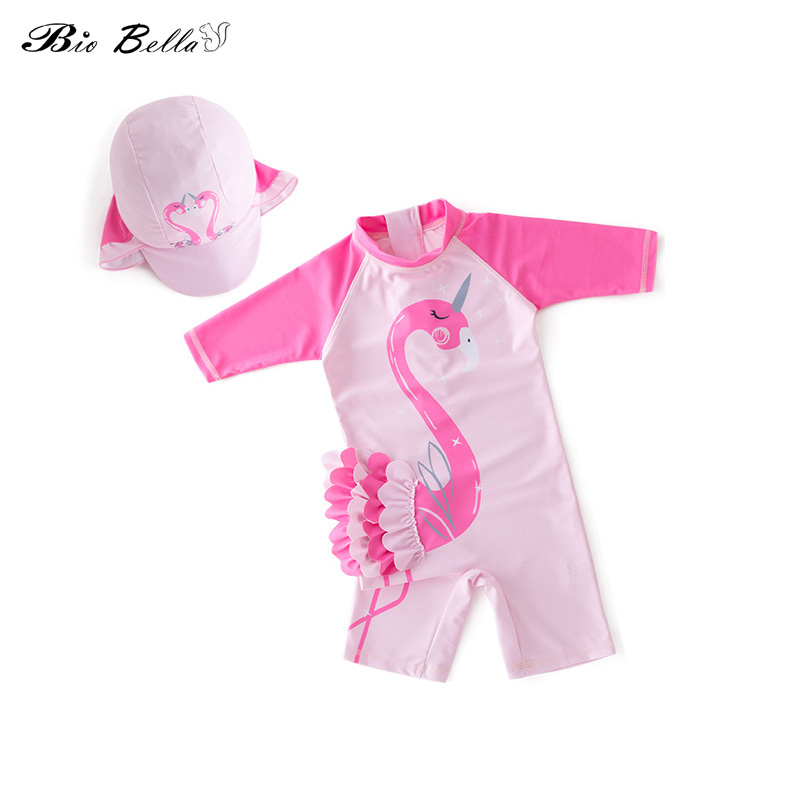 Baby Girl Children Swimming Bathing Swimwear Casual Flamingo Conjoined Close-fitting Swimsuit Princess Kids Baby Clothing Suit(China)