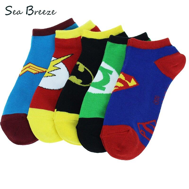 5 pairs 100% Cotton summer Cartoon Superman women American ...