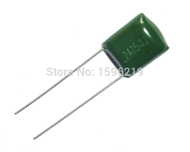 100pcs Mylar Film Capacitor 100V 2A154J 0.15uF 150nF 2A154 5% Polyester Film Capacitor