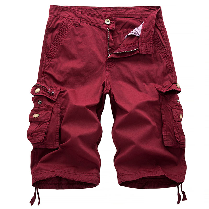 2018 Summer Men Cargo Military Shorts Baggy Shorts Pockets Casual Male Zipper Fashion Solid Loose Knee Length Plus Size 30-38