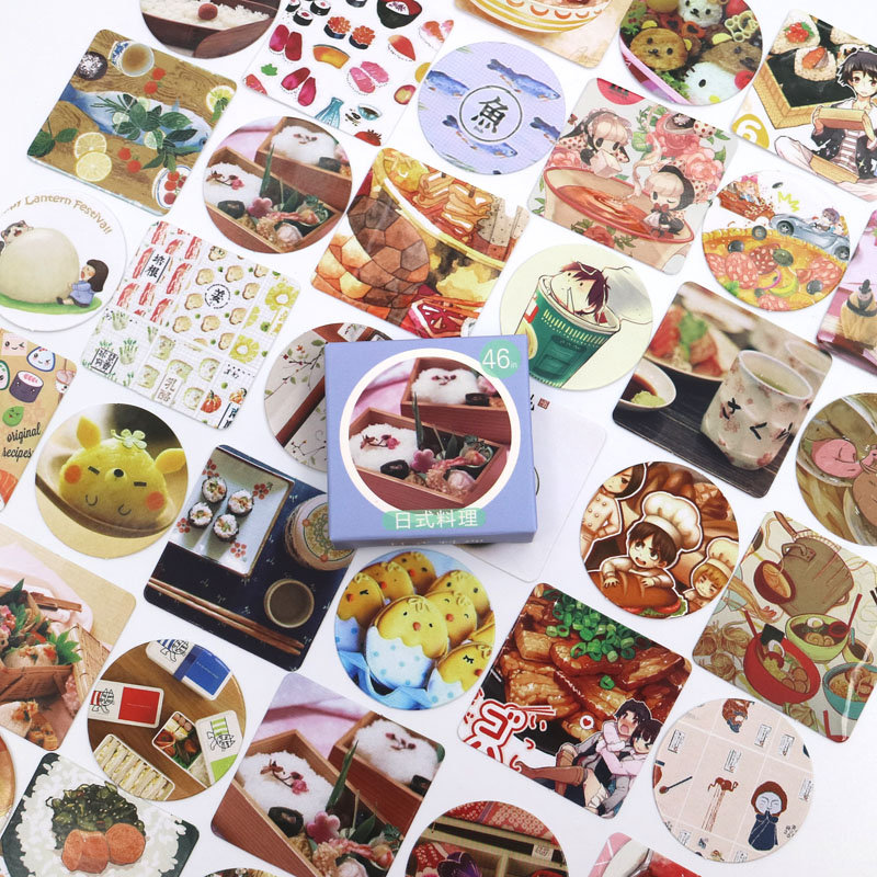 New Sushi Food Diary Paper Lable Stickers Crafts And Scrapbooking Decorative Lifelog Sticker DIY Lovely Stationery 46 PCS/box