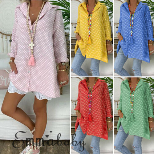 Plus Size S-3XL Women Dot V-neck Long Sleeve Blouses Ladies Shirts Summer Casual Tops Loose Long Blouse Streetwear Woman Clothes