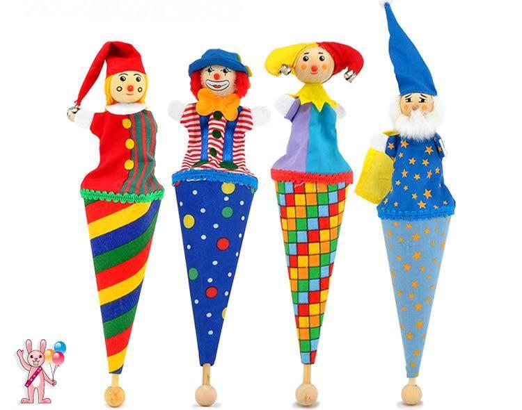 Märke älskling söt clown popup marionetter / trä teleskopisk käpp docka / barn barn födelsedagspresenter / hand marionett plysj docka leksaker