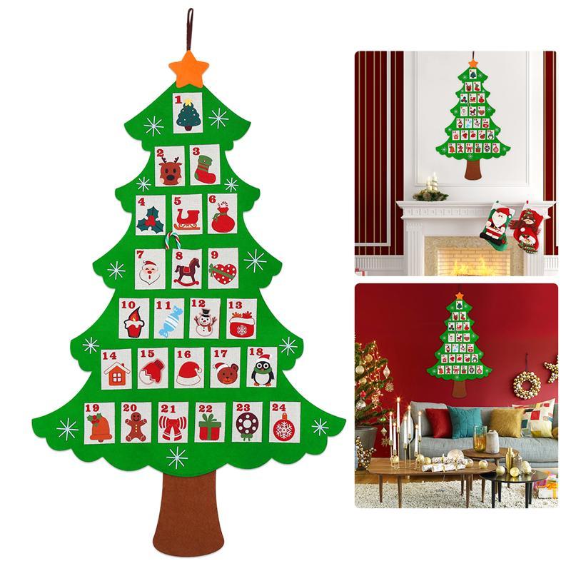 Calendario Dellavvento In Feltro.Christmas Tree Felt Advent Calendar Conto Alla Rovescia Per Natale Calendario Dell Avvento Fatto In Casa Decorazione Per Feste 107 X 62cm