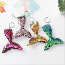 1 Pcs Funny Plush KeyChain Keyring New Hot-selling Double-sided Reflective Sequins Key Button Creative Fish Tail Car Key Ring(China)