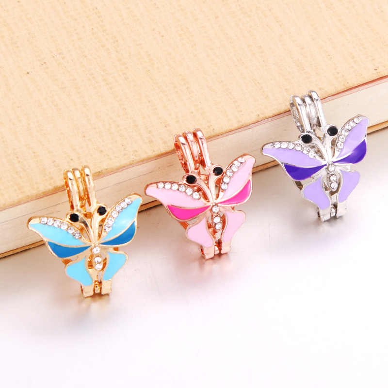 6pcs/lot Colored Pearl Cage Essential Oil Diffuser Locket Pendant DIY Cute butterfly Jewelry Making for Oyster Pearl cage