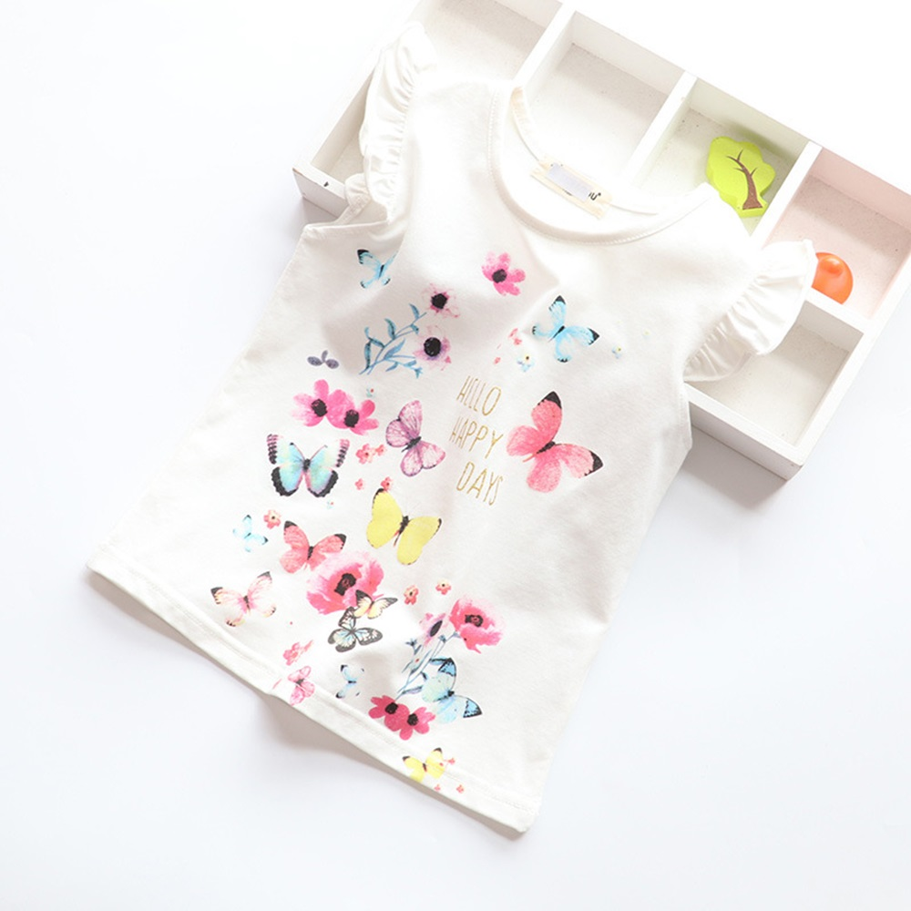 New Cotton Kids T-Shirt Children Summer Short Sleeve T-Shirts for Girls Clothes Cat Rabit Butterfly Baby T Shirt Toddler Tops 7