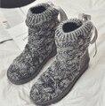 11.11 Precio de Punto Botas de Nieve, 2017 Winter Fashion Media Pantorrilla Botas de Algodón de Abrigo, Zapatos de Mujer de Invierno Negro Gris