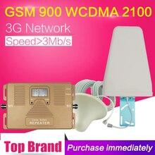 2G 3G ретранслятор сотового сигнала WCDMA 2100 GSM 900 двухдиапазонный усилитель диапазона 1 GSM 900 WCDMA 2100 мобильный усилитель ЖК-дисплея