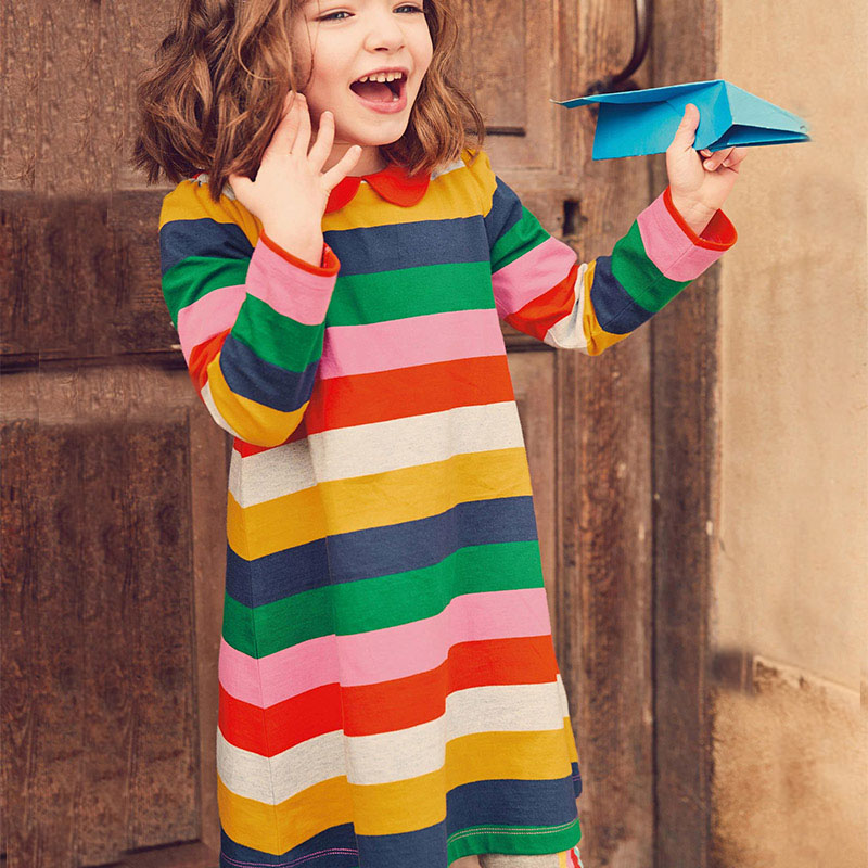 Jumping Meters Baby Dress Girls Princess Dress Animal Striped Kids Dresses for Girls Clothes Cotton Long Sleeve Children Dress все цены