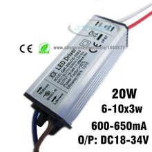 2pcs/lot 6-10x3w 20W LED Driver DC18-34v 650mA Power Supply Waterproof IP67 Constant Current Driver For FloodLight