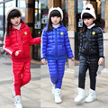 New Style Kids Girls Winter Clothing Set Children Tracksuit Jackets+Pants Girls School Sport Suit Kids Outerwear with Smile Face