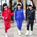 Novo Estilo Crianças Meninas Conjunto de Roupas de Inverno Crianças Casacos + Calças Treino Escola Meninas Esporte Terno Crianças Outerwear com Sorriso rosto