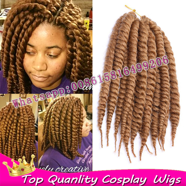 5pack Full One Head Short Havana Mambo Twist Blonde Braiding Crochet Hair Extensions Kanekalon Senegalese