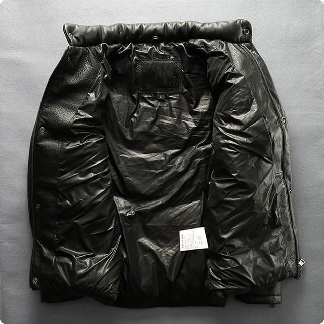 New Arrival męskie 100% prawdziwe skórzane kurtki na co dzień kaczka płaszcz puchowy Jaqueta Couro Masculina ramię powrót protector ce Chaquetas De Cuero Hombre