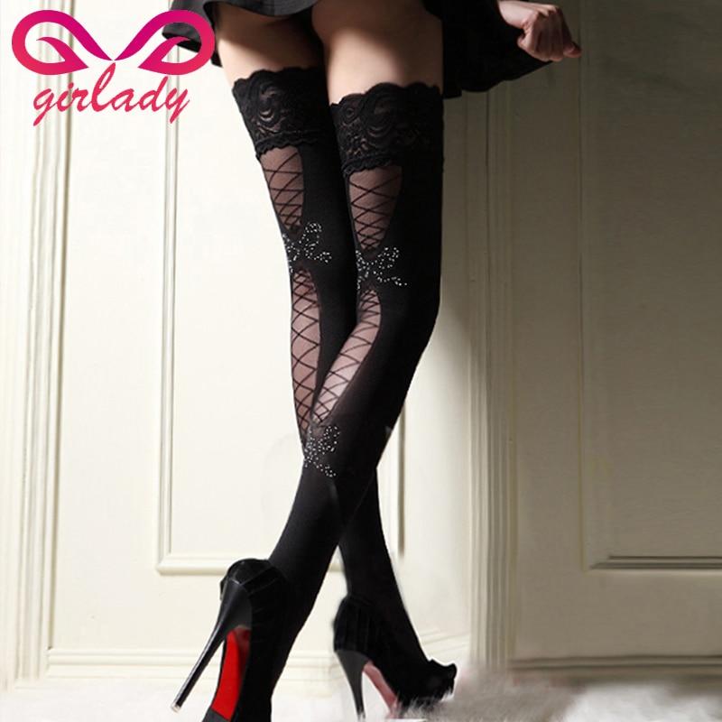 Girlady Sexy Stocking Kvinder Lace Stockings Flower Nylon Kvindelige Knæstrømper Thigh Lang-5754
