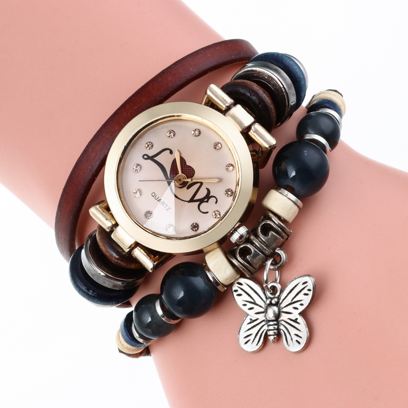 Gnova Platinum Pu Genuine Leather Women Watch Love Butterfly Triple Bracelet Fashion Quartz Wristwatch Reloj Para Dama gnova platinum women watch casual dress wristwatch blue jeans bike pu leather reloj lady bicecly fashion geneva style a926