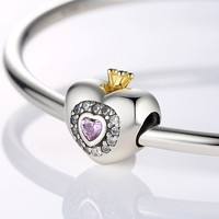 Real 925 Sterling Silver Charm Beads Fit Original Pandora Bracelet Pendants DIY Jewelry Princess Heart With