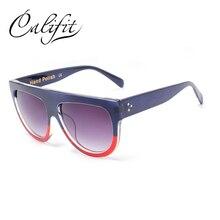 CALIFIT Ladies Oversized Flat Top Sunglasses Women Vintage Leopard Sun Glasses