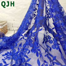 Brand Organza Water soluble lace Embroidery Mesh French Voile Milk Silk Lace Fabric for Wedding Dress Garment accessories Red