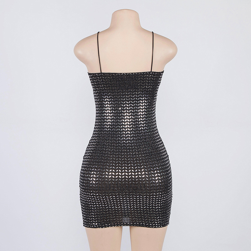 Forefair Summer Mini Sequin Dress Clubwear Party Black Off Shoulder (5)