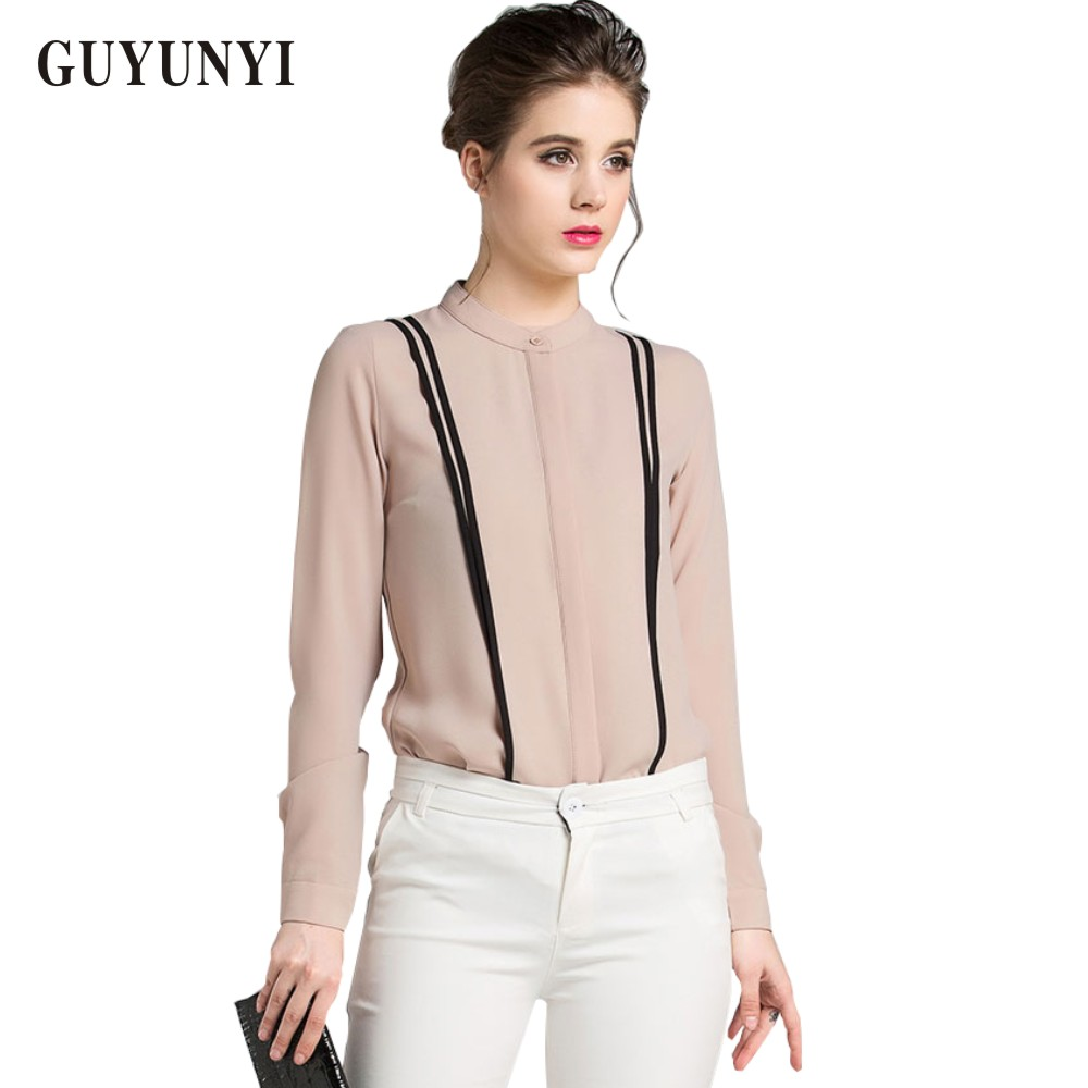 Fashionable Women S Blouses Office 2015 Summer Style Long Sleeve Chiffon Shirts Blouses High Quality Stitching