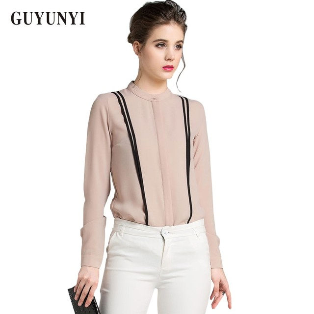 GUYUNYI Women's Blouses Office 2018 Summer Style Long Sleeve Chiffon Shirts Blouses High Quality Stitching Collar Y027