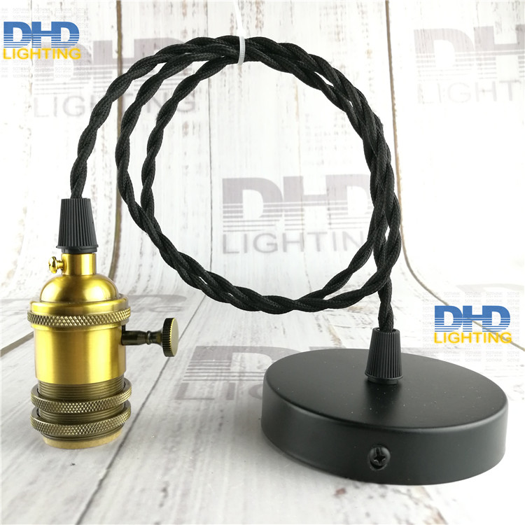 vintage key switch aluminum socket lighting fixture retro E27 DIY hanging lamp with 1.1meter fabric twist wire quality droplight color brass socket e27 industrial pendant lamp fixture copper edison filament socket lighting 110v 220v with fabric textile wire