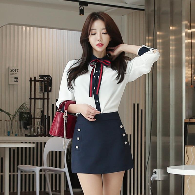 99f093827a9 HAGEOFLY Korea 2 Pieces Sets Long Sleeve White Shirt with Dark Blue ...