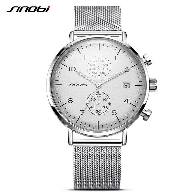 9f74476f4f3 SINOBI Novos Homens Relógio Marca Relógios Para Homens de Negócios Estilo  Ultra Fino Relógio de Pulso
