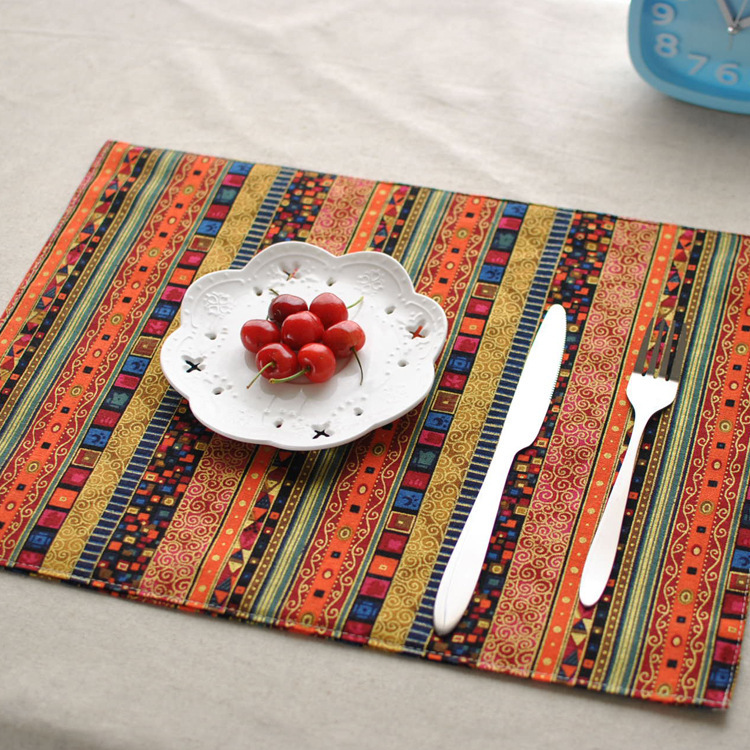 2015 Southeast Asia Style Cotton Rectangle Home Placemat Essential Quality Double-sided Mat For Dinner Table Ethnic Restaurants