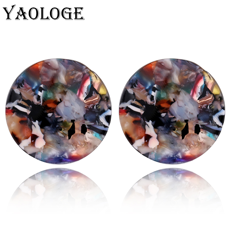 YAOLOGE Fashion Round Acrylic Stud Earrings Multicolored Simple Popularity Vintage Statement For Female Dangler Jewelry NEW