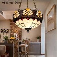 Candelabro de vitral europeo salón comedor dormitorio Mediterráneo creativo pintado LED araña envío gratis