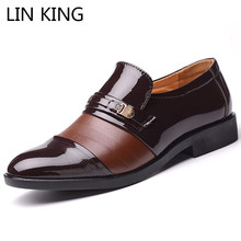 LIN KING Fashion Men Formal Shoes Men's Pu Leather Oxfords Shoes Comfortable Man Dress Shoes For Business Shoes Plus Size 38-48 все цены